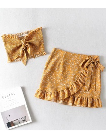 Fashion Ginger Printed Fungus Border Knotted Bow Tie Skirt Skirt Set