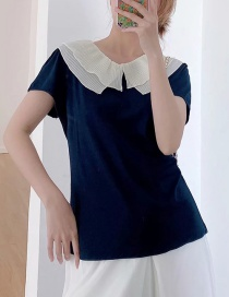 Fashion Navy Blue Baby Collar Stitching Contrast Color Short-sleeved Top