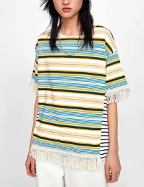 Fashion Color Striped Stitching Contrast Color Tassel Short Sleeve Top
