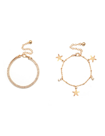 Fashion Golden Starfish Studded With Diamond Chain Anklet