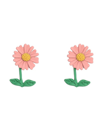 Fashion Pink Sunflower Drop Oil Alloy Contrast Color Earrings