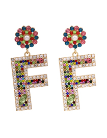 Fashion Color Diamond And Pearl Flower Alloy Earrings