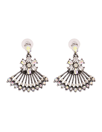 Fashion White Hollow Fan Shaped Alloy Diamond Earrings