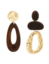 Fashion Brown Drop-shaped Wood Alloy Asymmetric Stud Earrings