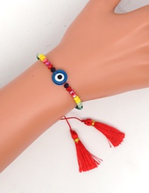 Fashion Color Mixing Crystal Braided Eye Tassel Bracelet