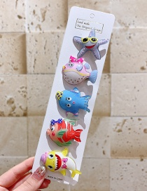 Fashion 5-piece Set Of Small Fish Resin Alloy Starfish Plant Animal Children Hairpin