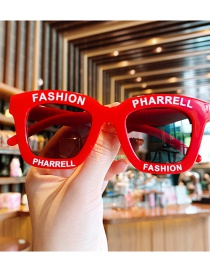 Fashion Red Wine Children's Sunglasses With Anti-ultraviolet Letters