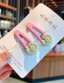 Fashion Grass Green Resin Small Daisy Hit Color Alloy Children Hairpin Set