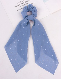 Fashion Dotted Streamer Blue Printed Silk Scarf Love Wave Dot Hair Rope