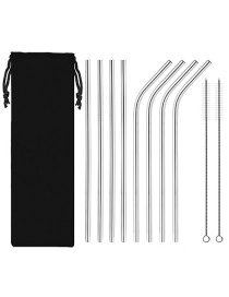 Fashion Silver 10-piece Set Stainless Steel Colored Metal Beverage Coffee Straw Set