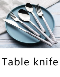 Fashion White Marbled Table Knife Grain Stainless Steel Imitation Marble Grain Knife And Fork Spoon
