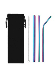 Fashion Rainbow Colors Stainless Steel Titanium Plated Straw Set