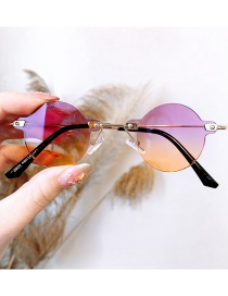 Fashion Purple Frame Under Orange Anti-ultraviolet Alloy Round Children S Sunglasses