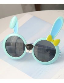 Fashion Sky Blue Children S Sunglasses With Anti-ultraviolet Resin Rabbit Ears
