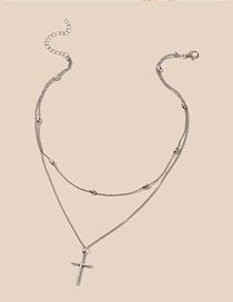 Fashion Silver Cross Round Bead Chain Double Necklace