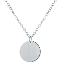 Fashion Silver Thin Chain Round Pendant Alloy Necklace