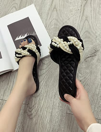 Fashion Black Round Head Straw Twisted Rope Pearl Flat Diamond-shaped Sandals And Slippers
