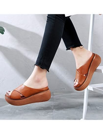 Fashion Brown Wedge-shaped Fish Mouth Muffin Bottom Cross Sandals And Slippers