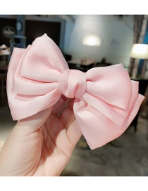 Fashion Light Pink Hair Clip Large Bow Double Layer Alloy Fabric Hairpin Hair Rope