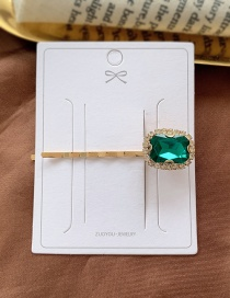 Fashion Dark Green Diamond-shaped Pearl-cut Crystal Geometric Alloy Hairpin