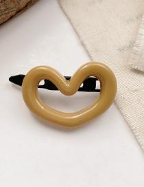 Fashion Yellow Love Resin Flower Love Heart Shape Hollow Hairpin