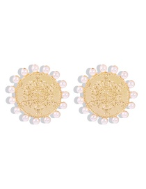 Fashion Many Small Pearls Embossed Snowflake Geometric Earrings With Pearls