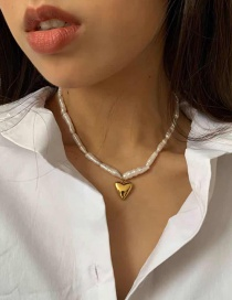 Fashion Pearl White Irregular Pearl Love Alloy Necklace