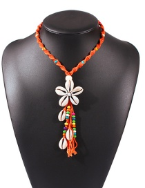Fashion Orange Shell Flower Pearl Woven Rice Pearl Tassel Rope Necklace
