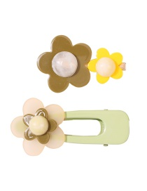 Fashion Green Flower Resin Alloy Hollow Hairpin Set