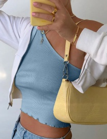 Fashion Blue Short Sleeves With Irregular Thread And Oblique Shoulders
