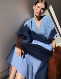 Fashion Blue Puff Sleeve V-neck Cotton And Linen Dress