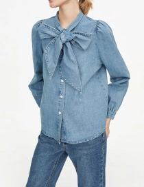 Fashion Blue Cotton Long-sleeved Denim Shirt With Bow On The Chest