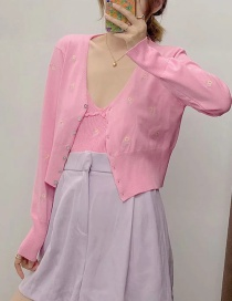 Fashion Pink Short-breasted Jacket With Floral Embroidery