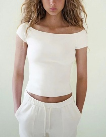 Fashion White Knitted Shoulder Neck Top