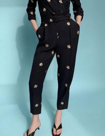 Fashion Black Floral Embroidery Decoration With Belt Pants