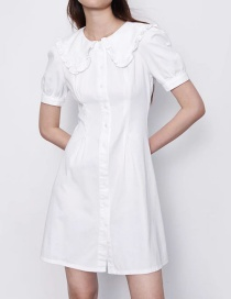 Fashion Creamy-white Single-breasted A-line Dress With Lapel
