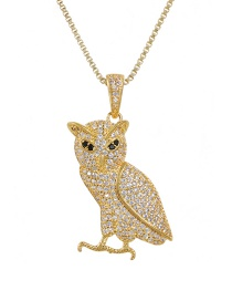 Fashion Golden Copper-inlaid Zircon Owl Necklace