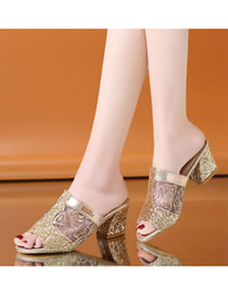 Fashion Golden Thick Heel Mesh Sequined High Heel Fish Mouth Sandals And Slippers