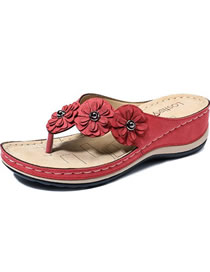Fashion Red Toe Flower Plus Size Wedge Sandals