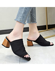 Fashion Black Oversized Chunky Heel Fish Mouth Mid-heel Breathable Sandals And Slippers