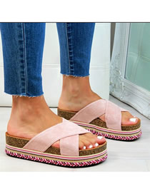 Fashion Pink Thick Bottom Hemp Suede Cross Sandals And Slippers
