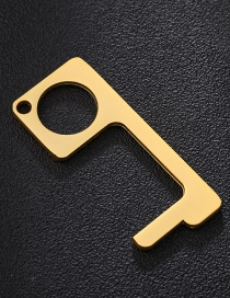 Fashion Square Golden Antibacterial Brass Protection Isolation Small Artifact Keychain