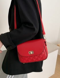 Fashion Red Buckle Flap Quilted Shoulder Crossbody Bag
