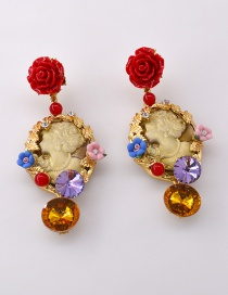 Fashion Red Crystal Relief Queen Resin Flower Earrings