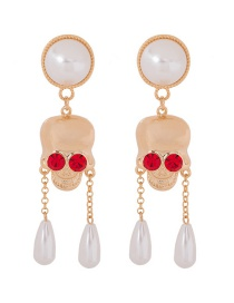 Fashion Gold Color Pearl Skull And Diamond Alloy Earrings