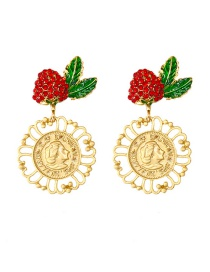 Fashion Gold Color Red Cherry Strawberry Coin Studded Stud Earrings