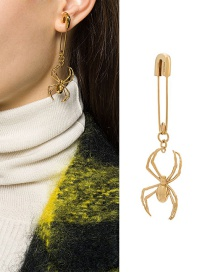Fashion Gold Color Single Spider-shaped Paper Clip Alloy Earrings