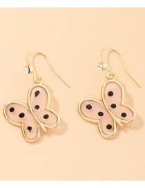 Fashion Beige Alloy Oil Painting Butterfly And Diamond Resin Earrings