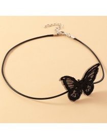 Fashion Black Lace Butterfly Leather Rope Necklace