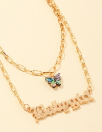 Fashion Gold Color Alphabet Abalone Shell Butterfly Alloy Necklace